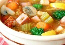 Caldo de verduras con pasta